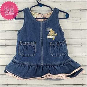 Disney Pooh Bear Overall Ruffle Hem Dress Sz 12M